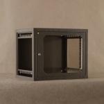 Obrázok produktu Netrack nástenný rack19   9U / 400mm, sklenené dvere, grafit, odnímateľné bočný panel