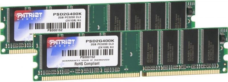 Patriot, 400Mhz, 2x1GB, DDR ram - PSD2G400K