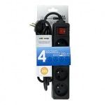 Obrázok produktu Whitenergy prepäťová ochrana, 4x zásuvka, 1,8m, čierna