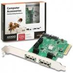 Obrázok produktu AXAGO,  PCES-SH4,  PCI express karta,  2x e-SATA,  4x interný SATA 6G radič,  RAID