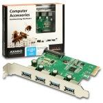 Obrázok produktu AXAGO PCIe adapter 4x USB3.0 Renesas