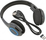 Obrázok produktu Logitech H600, bezdrôtové slúchadla, 2.4GHz USB prijímač, skladacie, mikrofón, čierno-modr