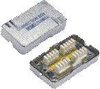 Spojovací BOX STP CAT6 (2* zárez. pole) Silver -