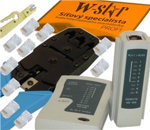 UTP tester+kleště UNI+stripovač narážeč+10xRJ45 -