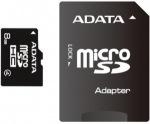 Obrázok produktu ADATA microSDHC karta, 8GB, adaptér SD