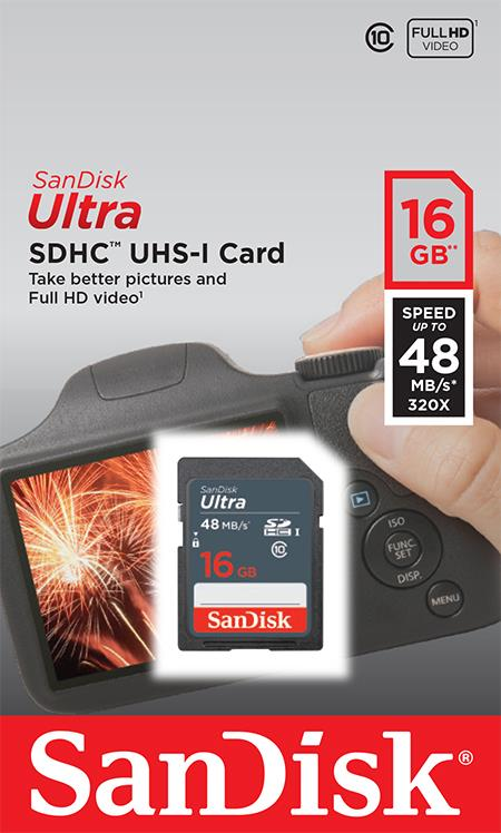 f302cf71f Obrázok SanDisk Ultra pamäťová karta SDHC čitanie: až 48MB -  SDSDUNB-016G-GN3IN