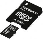 Obrázok produktu Transcend MicroSDXC 300x, Ultimate, Class 10 UHS-I, pamäťová karta 64GB + SD adaptér