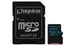 Obrázok produktu 128 GB . microSDXC karta Kingston Class U3 UHS-I V30 (r90MB / s,  w45MB / s) + adaptér