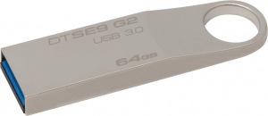 Obrázok produktu Kingston DataTraveler SE9 G2, USB kľúč 64GB, USB 3.0, kovový, strieborný
