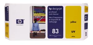 HP no 83 - žlutá tisk. a čistící hlava - C4963A