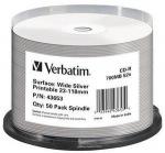 Obrázok produktu Verbatim CD-R,  700MB,  52x WIDE SILVER INKJET Printable No ID  50ks v cake obale