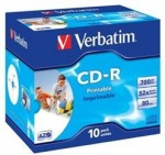 Obrázok produktu Verbatim médium CD-R, 700MB, 52x, 10ks, jewel case, printable