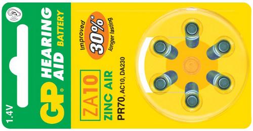 Baterie do naslouchadel GP ZA10 - 6ks - 1044001016
