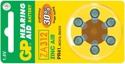 Baterie do naslouchadel GP ZA312 - 6ks - 1044031216